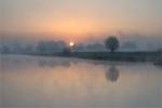 Dolina Wisły  w porannej mgle