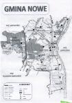Mapka pokazuje rozmieszczenie  starych cmentarzy w Gminie Nowe